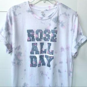Rosé all day tie dye tee graphic shirt pastel top